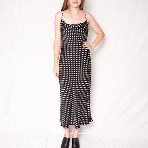 ZARA Black and White Polka Dot Midi Slip Dress
